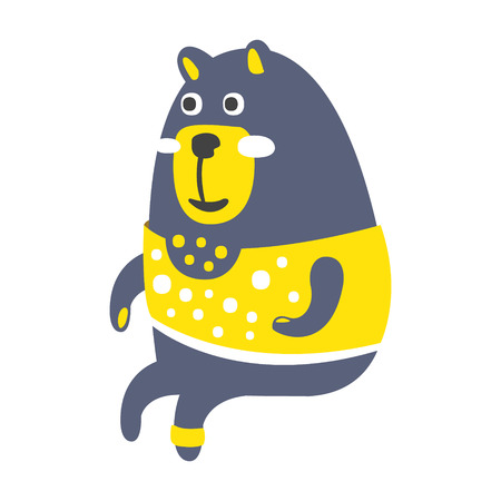Cute gray teddy bear in a yellow sweater sitting. Funny lovely animal colorful cartoon character vector Illustration Stock Vector - 77854403