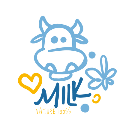 vacas lecheras: Nature milk product logo symbol. Colorful hand drawn illustration