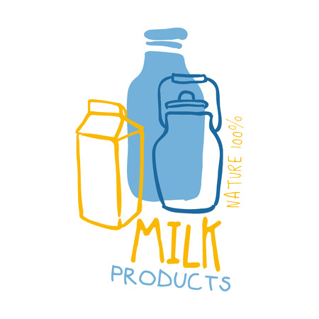 Milk products logo symbol. Colorful hand drawn illustration for milk products, agriculture, shopping