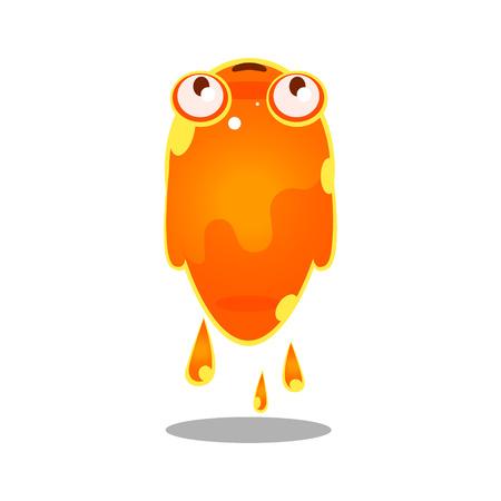 Funny cartoon orange sluggish blob monster. Cute bright jelly character vector Illustration