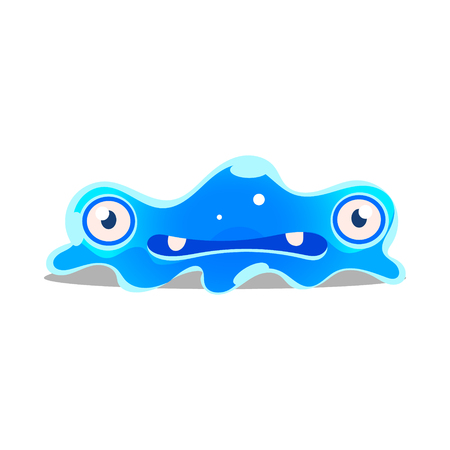 Funny cartoon sluggish blob monster. Cute bright jelly character vector Illustration Banco de Imagens