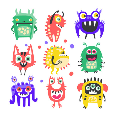 Friendly cartoon funny monsters and aliens set. Colorful collection of cute monsters Illustration