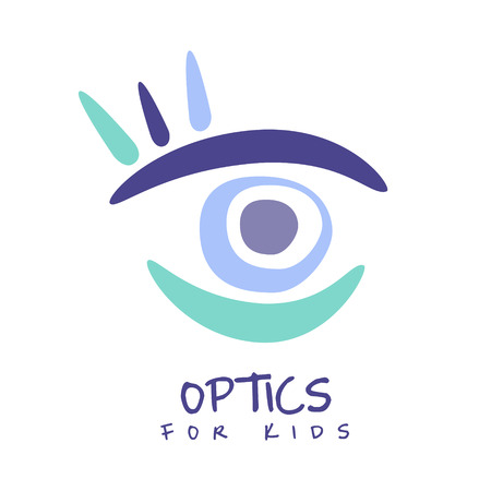 Optics for kids logo symbol, hand drawn illustration