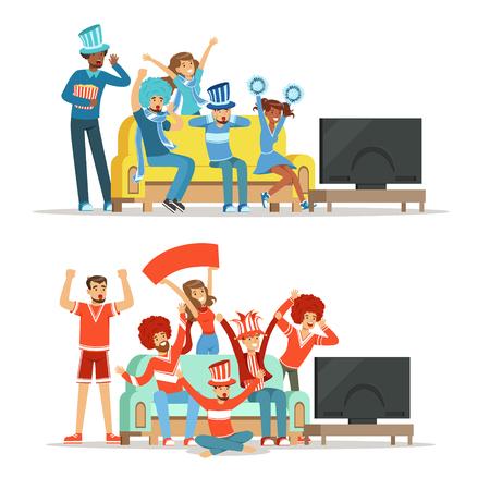 Groupe d'amis qui regarde le sport à la télé et célèbre la victoire à la maison. Les gens vêtus de rouge et bleu, soutenant leur équipe sportive préférée, illustrations colorées
