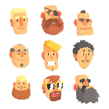 Cartoon avatar men faces with different emotions. Set of men from different nations and professions, colorful Illustrations