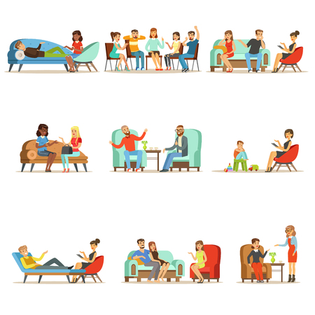 Patients at a reception at the psychotherapies. People talking to psychologist. Psychotherapy counseling, colorful Illustrations