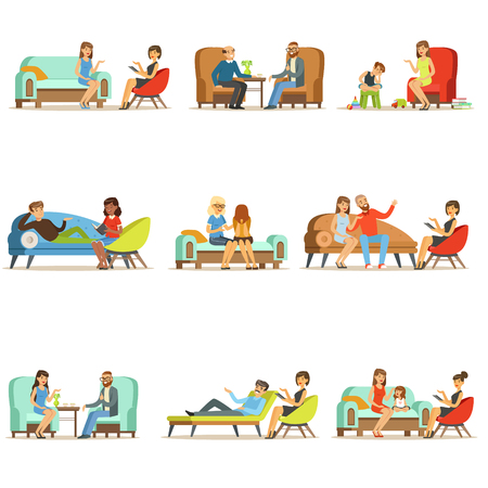 People talking to psychologist. Patients at a reception at the psychotherapies. Psychotherapy counseling, colorful Illustrations