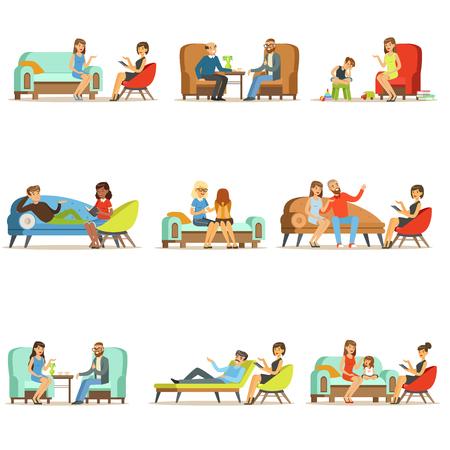 Mensen praten met een psycholoog. Patiënten bij een receptie bij de psychotherapieën. Psychotherapie counseling, kleurrijke illustraties Stockfoto - 77858787