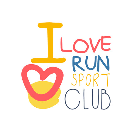 I love run sport symbol. Colorful hand drawn illustration Ilustração