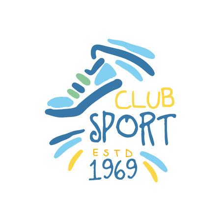 Club de sport depuis 1969 logo symbole. Illustration colorée dessinée à la main Banque d'images - 77858798