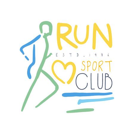 Exécutez le symbole du club de sport. Illustration colorée dessinée à la main Banque d'images - 77859011