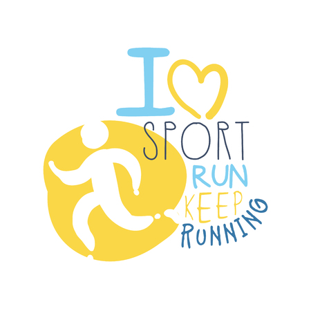 I love sport keep running symbol. Colorful hand drawn illustration Ilustração