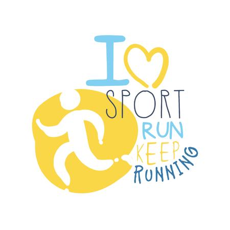 J'aime le sport continuez à courir le symbole. Illustration colorée dessinés à la main Banque d'images - 77859018