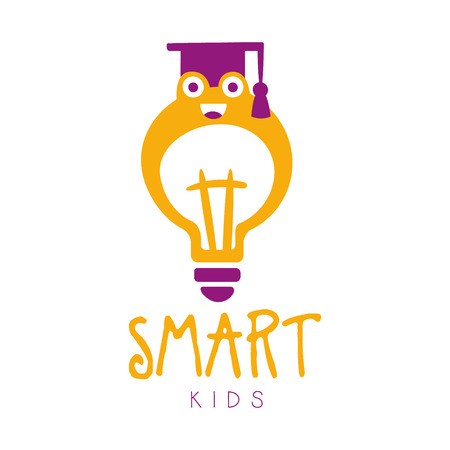 Smart kids symbol. Colorful hand drawn label