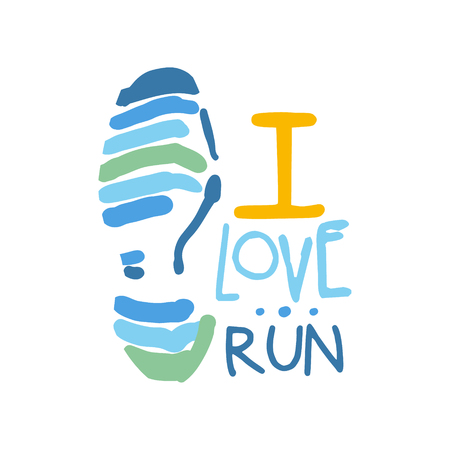 I love run symbol. Colorful hand drawn illustration