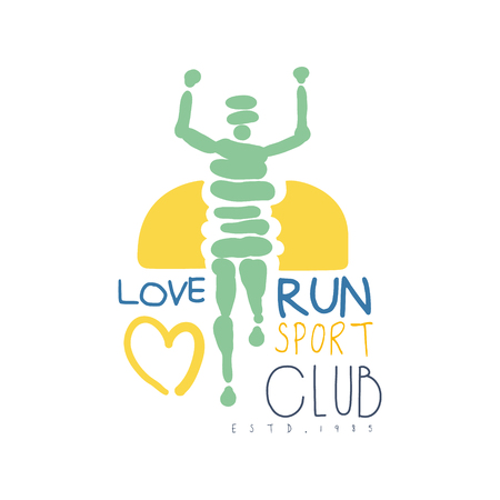 Amour courir le symbole du club de sport. Illustration colorée dessinés à la main Banque d'images - 77859521