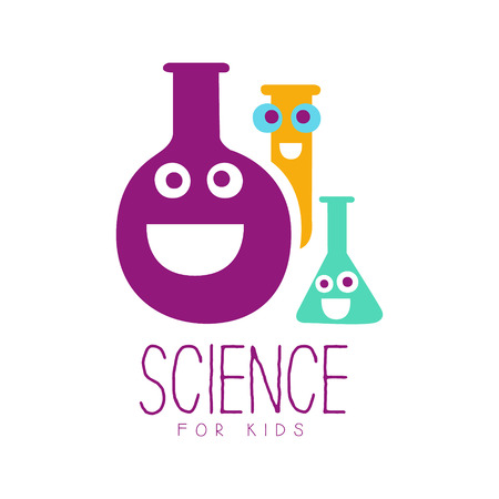 Science for kids symbol. Colorful hand drawn label