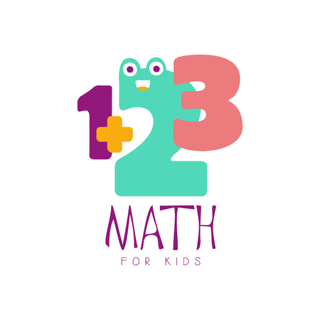 Math for kids lsymbol. Colorful hand drawn label Illustration