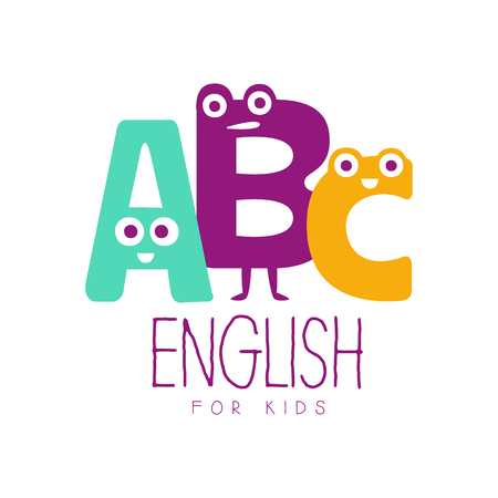 English for kids symbol. Colorful hand drawn label Иллюстрация