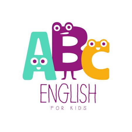 English for kids symbol. Colorful hand drawn label Illustration
