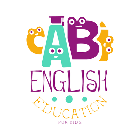 English education for kids logo symbol. Colorful hand drawn label