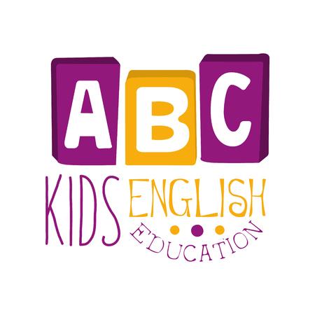 ABC Englischunterricht für Kinder lsymbol. Bunte handgezeichnete Label Standard-Bild - 77859733
