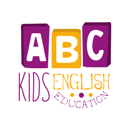 ABC english education for kids lsymbol. Colorful hand drawn label