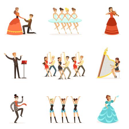 古典的な劇場、芸術的な演劇舞台でオペラ、バレエ、ドラマ出演者のイラスト セット