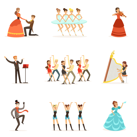 Classic Theater And Artistic Theatrical Performances Set Of Illustrations With Opera, Ballet And Drama Performers On Stage