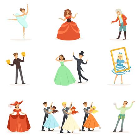 Théâtre classique et spectacles théâtrales artistiques Série d'illustrations avec des interprètes opéra, ballet et drame en scène Banque d'images - 77834512