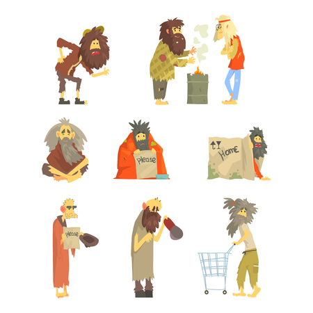 Set of homeless people, characters in dirty torn clothes. Unemployment and homeless issues cartoon vector Illustrations Illustration