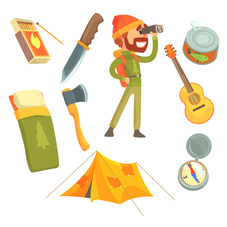 Man with touristic backpack looking through binoculars. Camping equipment. Cartoon detailed Illustrations Illustration