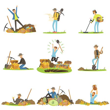 Treasure hunting, people in search of treasure. Cartoon detailed Illustrations Illustration