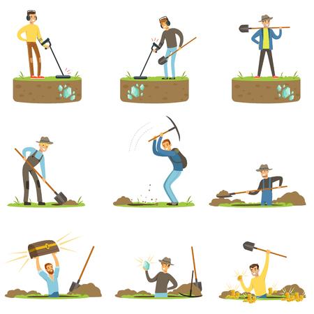 Łowca skarbów, archeolog, schronista. Ludzie w poszukiwaniu skarbu. Cartoon szczegółowe Ilustracje Ilustracje wektorowe