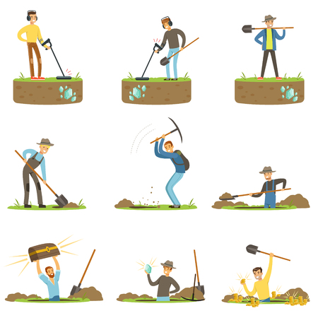 Treasure hunter, archaeologist, downshifter. People in search of treasure. Cartoon detailed Illustrations Vectores