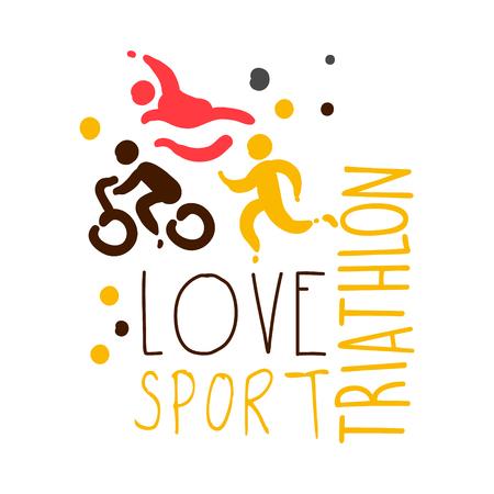 Houd van triatlonsport. Kleurrijke hand getrokken illustratie