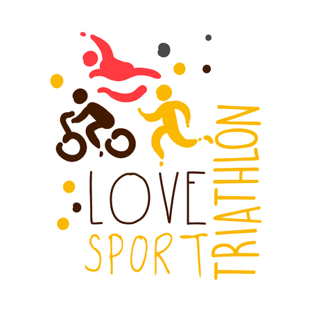 Love triathlon sport. Colorful hand drawn illustration