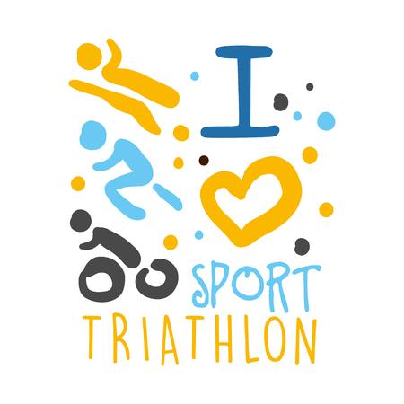 Ik hou van triathlon sport logo. Kleurrijke hand getekende illustratie