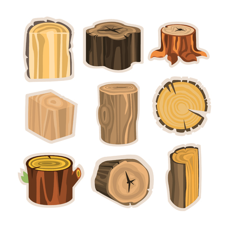 logging: Set of different stump trees. Wooden materials vector Illustrations