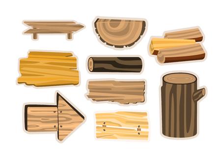 Set of wooden sign boards, planks, logs. Wooden materials vector Illustrations Illustration