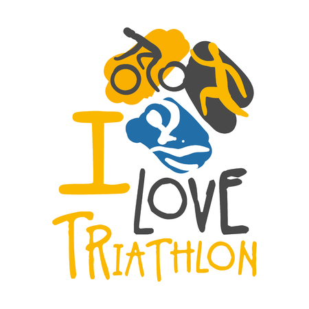 I love triathlon logo. Colorful hand drawn illustration