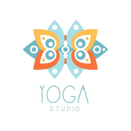 Yoga studio logo symbol. Health and beauty care badge, spa, yoga center label