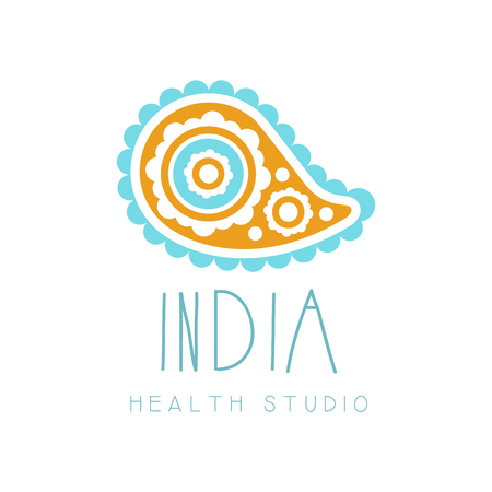 India health studio logo symbol. Health and beauty care badge, spa, yoga center label