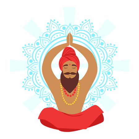 Meditating yogi man in yoga lotus pose, colorful character vector Illustration