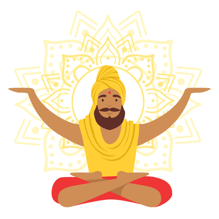 Yogi man in yoga lotus pose and with arms raised, colorful character vector Illustration