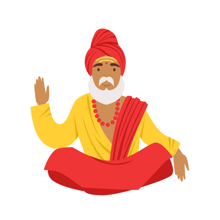 Yogi man in yoga lotus pose, wearing traditional Indian clothes. Colorful character vector Illustration