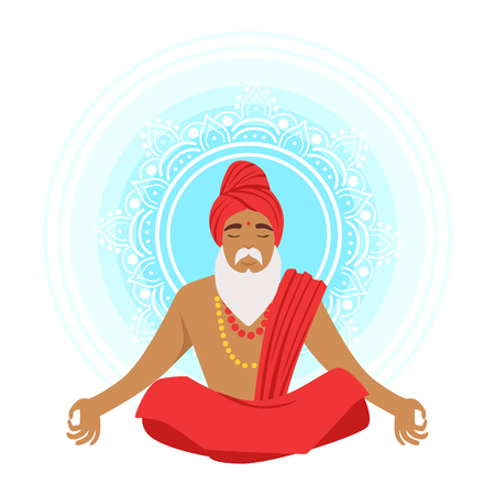 Meditating yogi man in yoga lotus pose, colorful character vector Illustration