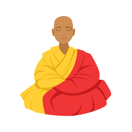 Tibetan monk in a robe, buddhist in lotus position, colorful character vector Illustration