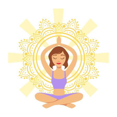 Meditating yogi girl in yoga lotus pose, colorful character vector Illustration