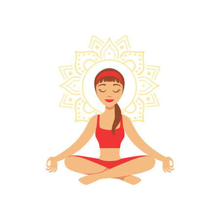 Young woman practising yoga in lotus position, colorful character vector Illustration